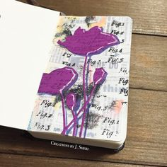 Daily Art Journal || Mixed Media Art || #mymoleskine #rangerink #archivalink #timholtz #pennyblack #flower #diecut #delipaper #gelliprinting