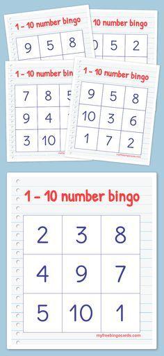 Free printable bingo cards pinterest alphabet bingo bingo card free printable 1 10 number bingo cards perfect for kindergarten or preschool spiritdancerdesigns Image collections