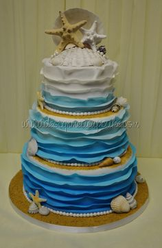 Something Blue.... beach themed wedding cake by Design Me A Cupcake in Toronto