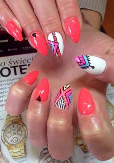 by Desire Justyna Rygiel, Follow us on Pinterest. Find more inspiration at www.indigo-nails.com #nailart #nails #indigo #aztec #pink