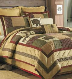Big Sky Quilt  Settle down for a long winter's nap lodge style in Big Sky quilt comforter and bedding accessories. All available @ CountryPorch.com