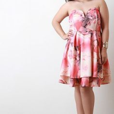 Floral Strapless Sweetheart Fit And Flare Dress