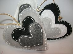 Sweet Heart black and white felt ornament set of 3.... $6.00, via Etsy.