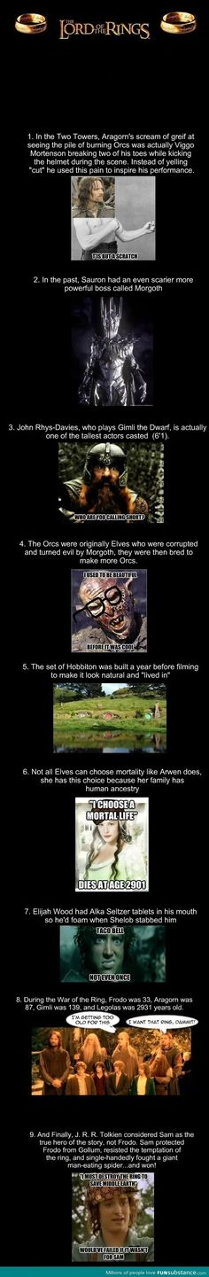 #8...Actually, I think Frodo was in his 50s when he started out with the ring. The movies significantly cut the books time frame. He waited in Hobbiton for Gandalf for a long time. Correct me if Im wrong?
