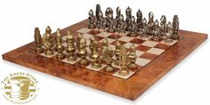 Chess Package.  Medieval Theme Metal Chess Set with Elm Root Chess Board by Italfama.  http://www.thechessstore.com/product/MS18bdp