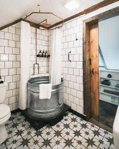 my scandinavian home: Cosy Weekend Escape: Warner's Camp Cabin Serene Bathroom, Wood Bathroom, Cabin Bathrooms, Rural Retreats, Upstate New York, Rustic White, Clever Design, Scandinavian Home, Rustic Interiors