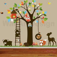 Vinyl Wall decal stickers swing tree set with,owls,birds,deer,bear,fox.woodland animals nursery wall decal