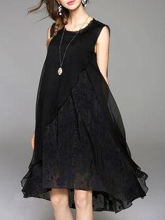 Black Cotton-blend Casual Asymmetrical Crew Neck Midi Dress