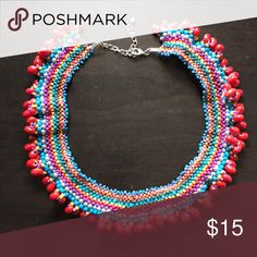 Beaded Collar Necklace NWOT tribal inspired necklace. Falls right between neck and collarbones! Great statement piece! Macy's Jewelry Necklaces