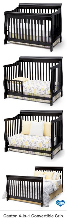 The Delta Canton 4-in-1 convertible crib is a perfect addition to your nursery. This beautiful Canton crib converts to a toddler bed, day bed and full-size headboard with ease. This crib is not only stylish, but it is versatile and economical too. This crib adds elegance, as well as, a contemporary look to the nursery. This classic convertible crib coordinates with the Canton dresser, available for purchase separately. #crib #nursery #baby #deltachildren