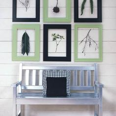 Silver bench Outdoor Wall Art but with cobalt blue and sage green picture frames