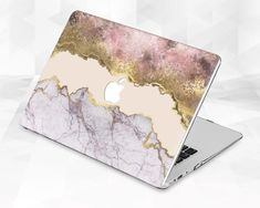 Macbook Air 13 Cover, Macbook Pro 13 Inch, Macbook Pro Case, Marble Macbook Case, Macbook Pro Models, Pink And Gold, Purple, Artificial Turf, Plastic Material