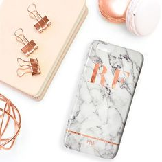 Rose Gold and Marble Stripe Initial Phone Case Flat Lay - available from www.hblondon.uk
