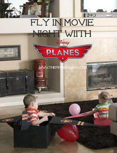 Fly In Movie Night with Disney Planes + DIY Cardboard Airplane
