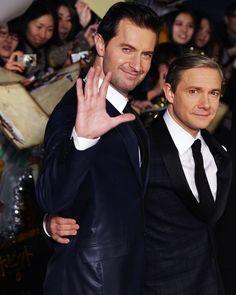 Martin Freeman (Bilbo) & RA (Thorin) at The Hobbit premeire.