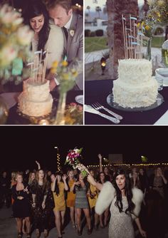 """I want lots of different cakes. Pretty ribbon toppers could tie them all together. Maybe a white frosted one with the most flags as the official """"cut and smash"""" cake?"""