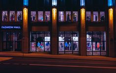brown Fashion Mall store front photo at nighttime Window Shopping at Night Mall Stores, Shopping Mall, Window Shopping, Walmart Stores, E-mail Marketing, Marketing Digital, Brown Fashion, Fashion Over, Visual Merchandising
