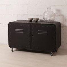 photo Buffet bas en métal 2 portes casiers decoclico Factory - Noir L 100 x P 37 x H 59 cm