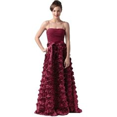Pre-owned Aidan Mattox Red Rosette Floor-length Gown Black-tie... ($219) ❤ liked on Polyvore featuring dresses, gowns, red, red ball gown, black tie dresses, red gown, white formal gowns and black formal gowns