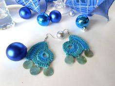 Crochet Earrings, Dangle Earrings, Blue Earrings, Teal Earrings, Two Tone Earrings