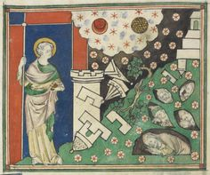 Royal_ms_19_b_xv_f011v John watching the earthquake, with ruins and fallen stars, and the dead in holes, Royal MS 19 B XV, f 11v (detail), England S. E. (London), or East Anglia, 1st quarter of the 14th century - See more at: http://britishlibrary.typepad.co.uk/digitisedmanuscripts/2015/07/another-apocalypse-manuscript-digitised.html#sthash.PJ6R5iW6.dpuf