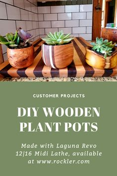 Rockler customer T.S. made this adorable plant pots using the Laguna Revo 12|16 Midi Lathe, available at Rockler. #plantpot #diyplantpot #plantholder #woodworking #woodturning #woodturningprojects Cool Woodworking Projects, Welding Projects, Diy Woodworking, Plant Pots, Potted Plants, Wood Turning Projects, Wood Projects, Wood Lathe, Lathe Tools