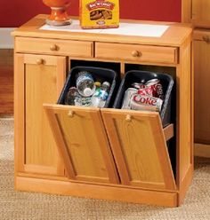 New Kitchen Organization Cabinet Hidden Storage Trash Bins Ideas Kitchen Organization, Kitchen Storage, Kitchen Garbage Can Storage, Workshop Organization, Hidden Kitchen, Kitchen Furniture, Diy Furniture, Recycling Storage, Recycling Center