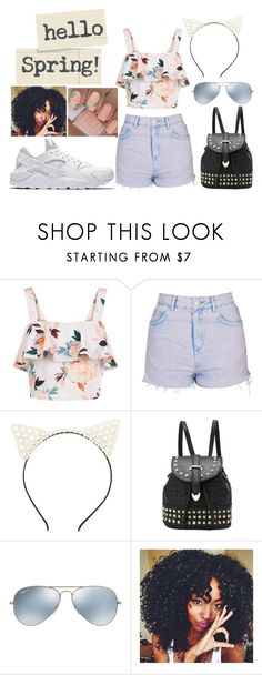 """Hello Spring"" by bowkam ❤ liked on Polyvore featuring New Look, Topshop, Charlotte Russe, Ray-Ban and NIKE"