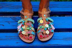 "Gladiator Sandals, Greek Leather Sandals, Handmade Dimitras Workshop ""Bora Bora"" Sandals"