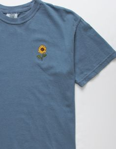 Embroidered sunflower at the left chest. Embroidery On Clothes, Embroidered Clothes, T Shirt Embroidery, Vintage Embroidery, Embroidered Tops, Flower Embroidery, Custom Embroidery, Embroidery Patterns, Couture Embroidery