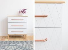 IKEA Hack Tarva dresser geo cut white paint and copper handles - DIY Auguste et Claire