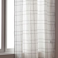 Image of the product Black check printed linen curtain