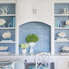 Blue Grasscloth on Back of White Built Ins - Cottage - Living Room Decor, Home, Beach House Decor, White Built Ins, Living Room Designs, New Homes, Grasscloth Wallpaper Bedroom, Blue Rooms, White Decor