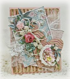 Textural shabby chic card featuring Maja Designs papers...