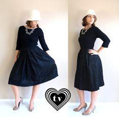 Love the 1950's/1960s take on the LBD    vtg 50s black BROCADE pleated skirt COCKTAIL by TigerlilyFrocks on Etsy.    #lbd #littleblackdress #lesleysgirlsLBD Vintage Dresses 50s, 50s Dresses, Vintage Outfits, Pleated Skirt, High Waisted Skirt, Dress Party, Fitted Bodice, Lbd, Wool Blend