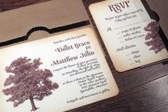 vintage wedding invitation -rustic tree