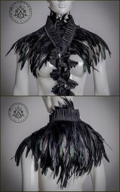 Steampunk black feather shrug, collar or peplum belt