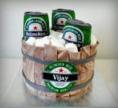 Heineken beer bucket birthday cake