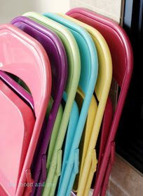 paint those ugly folding chairs. Now it's a party.