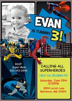 Superhero Birthday Party Invitation  Digital by PrettyPaperPixels, $8.99
