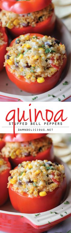 Quinoa Stuffed Bell Peppers - Since dairy doesn't work in my diet, I could replace the cheese with an almond alternative cheese or no cheese at all.