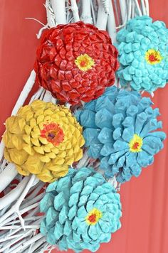 Summer Wreath made with Pine Cone Zinnias - Cottage at the Crossroads - Diy Crafts Ideas Projects Pine Cone Art, Pine Cone Crafts, Wreath Crafts, Diy Wreath, Pine Cones, How To Make Wreaths, Crafts To Make, Easy Crafts, Kids Crafts