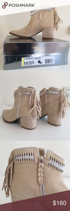 "Donald J Pliner Signature suede booties ""FLANNA"" Made in Italy, Genuine suede, Women's size 9.5, Fringe tassel detail, pointed toe, side zip, 2"" heel, .5"" platform Donald J. Pliner Shoes Ankle Boots & Booties"