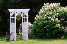 """""""Jeanne's 'old door arbor' redo"""" How to build a garden 'door arbor' Jeanne… Shop our for your own and Garden Whimsy, Garden Deco, Garden Art, Garden Design, Outdoor Landscaping, Outdoor Gardens, Outdoor Decor, Door Arbor, Bird Bath Garden"""