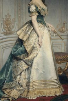 Portrait of Nadezhda Polovtseva (detail), by Charles Francois Jalabert, O… – Style is art Old Dresses, Vintage Dresses, Vintage Outfits, Historical Costume, Historical Clothing, Victorian Fashion, Vintage Fashion, 1870s Fashion, Vestidos Vintage