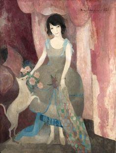 Jeune femme au chien ou La marie - Marie Laurencin 1921 French, 1883 - 1956 Oil on canvas, 45 x 35 in. (115.6 x 89 cm.)