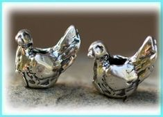Artisan Bird Bead in  Sterling Silver
