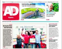 Ad voorpagina Alphen de 3 winnaars voor het beste frietje van Nederland 2014: Loket 13 Apeldoorn derde plaats