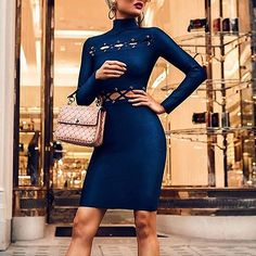 Eyelet Lace-up High Neck Bodycon Dress