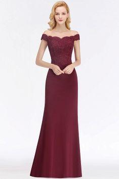 Green Elegant Lace Mermaid Off-The-Shoulder Bridesmaid Dresses | Yesbabyonline.com